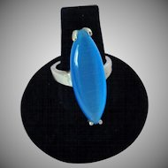Large Blue Moonglow Ring Vintage