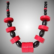 Plastic Red Discs Black Beads Necklace Vintage
