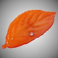 B D Denmark Orange Leaf Rhinestone Pin Vintage