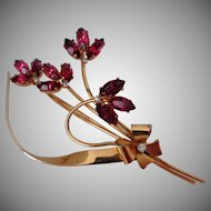 Sterling Craft Coro Fuchsia Rhinestone Flowers Brooch Vintage