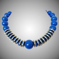 Blue Lucite Balls with Silver Tone Accents Necklace Vintage