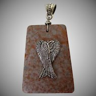 Silver Tone Wings on Brown Copper Rock Pendant Vintage