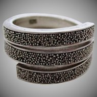Pebbled Silver 925 Three Layer Ring Vintage