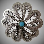 Filigree Silver 925 Flower Pin Pendant with Turquoise Stone Marked Vintage
