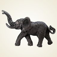 Pewter Elephant with Tusk Highly Detailed Pin Vintage