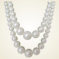 Snow White Faux Pearl Two Strand Necklace Vintage