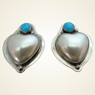Sterling Turquoise Stone and Faux White Mabe Pearl Heart Earrings Vintage