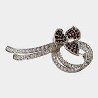 Ruby Red Rhinestones 3 Heart Ribbon Bow Style Clear Rhinestone Brooch Vintage