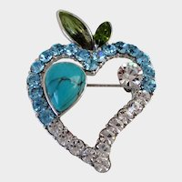 Blue and Clear Rhinestone Turquoise Enamel Heart Pin Vintage