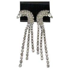 Clear Rhinestone Unique Shaped Dangle Earrings Pierced Vintage