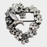 MasJ Silver Plated Pewter Heart of Flowers and Hummingbird Pin