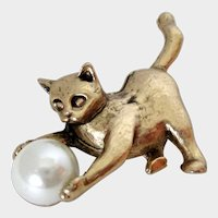 Gold Tone Kitten Playing with Faux Pearl Ball Brooch Vintage