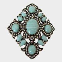 Mint Green White Tiny AB Rhinestones Antiqued Bronze Brooch Vintage