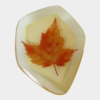 Happy Canada Day Maple Leaf in Lucite Brooch Pin Vintage