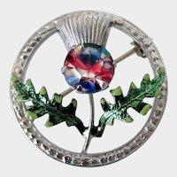 Scottish Thistle Silver Tone Iris Glass Stone Mizpah Brooch Vintage