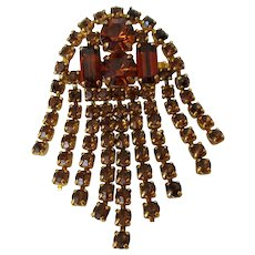 Topaz Colored Rhinestones Cascading Waterfall Brooch Vintage