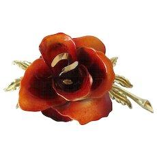 Coro Rust Colored Enamel Rose Flower Brooch Vintage