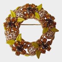Autumn Colored Rhinestones and Enamel Leaves Wreath Brooch Vintage