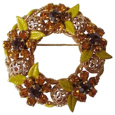 Autumn Colored Rhinestones and Enamel Leaves Wreath Brooch Vintage