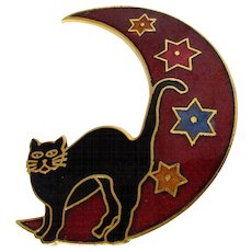 Halloween Black Cat on the Moon Cloisonne Style Brooch Vintage