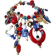 Amazing Red White and Blue Multi Beaded Charm Bracelet Vintage