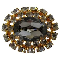 Smokey Grey Glass Stone and Rhinestones Domed Brooch Vintage