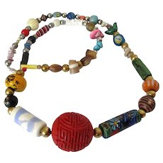 African Trade Bead Cinnabar Ball Necklace Vintage