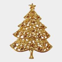Christmas Tree Gold Tone Brooch Vintage