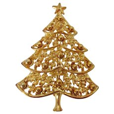 Christmas Tree Gold Tone Brooch Vintage