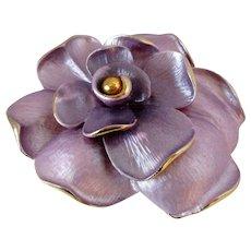 Lilac Brushed Enamel Gold Tone Flower Brooch Vintage