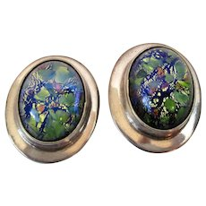 Harlequin Foil Faux Opal Sterling Silver Mexico Clip Back Earrings Vintage