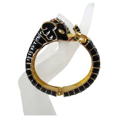 Black Elephant Jeweled Trunk Up Clamper Style Bracelet Vintage