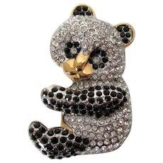 Panda Bear Black Clear Rhinestones Butler Marked Brooch Vintage