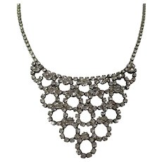 Clear Rhinestone Bib Style Necklace Vintage