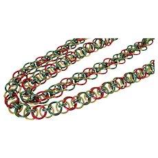 Christmas Colored Circles Aluminum Necklace Vintage