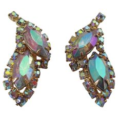 Aurora Borealis Rhinestone Clip On Earrings Vintage