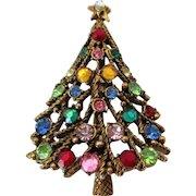 Christmas Tree Rhinestones Brooch Vintage
