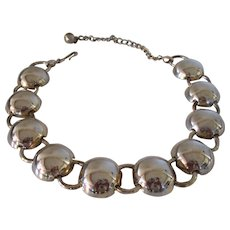 Sperry Gleaming Silver Tone Half Orbs Choker Necklace Vintage