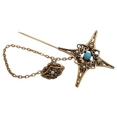 Star Shaped Jabot Pin with Faux Pearls Turquoise Vintage