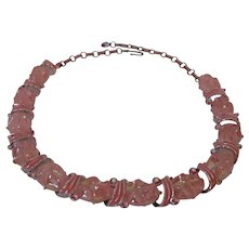 Pink Plastic Crimped Beads Enamel Choker Style Necklace Vintage