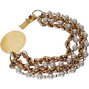 Celebrity Faux Pearl Four Strand Bracelet Vintage