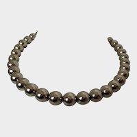 Monet Gold Tone Single Strand Round Beaded Necklace Vintage