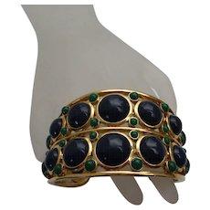 Navy Blue Green Gold Tone Cuff Bracelet Vintage