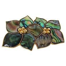 Abalone Shell Double Flower Brooch Vintage