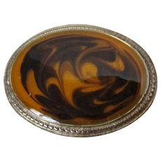 Caramel Chocolate Brown Swirl Oval Hard Plastic Brooch Vintage