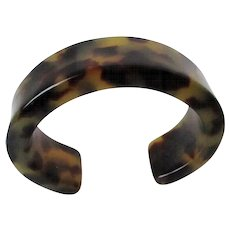 Lucite Faux Tortoise Shell Style Cuff Vintage