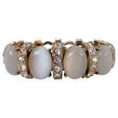 White Moonglow Cabs Rhinestones Stretch Bracelet Vintage
