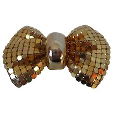 Gold Tone Mesh Bow Tie Brooch Vintage