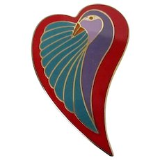 "Laurel Burch ""Dove Heart"" Brooch Vintage"