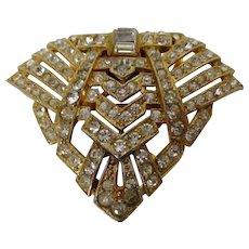 Art Deco Style Gold Tone Rhinestone Dress Clip Vintage